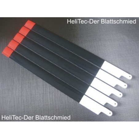 5 Helitec scale blades 600mm Black Red airfoil S