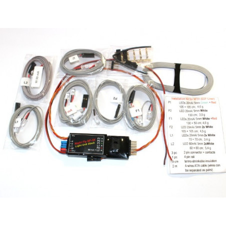 Navigation lights LED 5mm/20mA (1Gx, 2xR, 6xW) and Led 5mm/80mA (2xW)