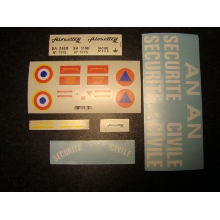 "Sticker set for Alouette 3 ""securité civile"" 600 size"